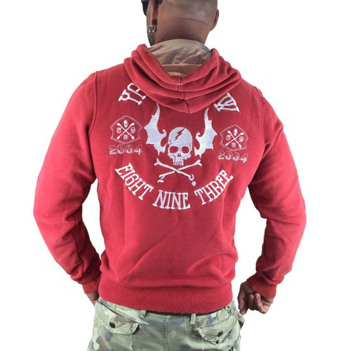 "YAKUZA - Herren Hoodie HOB 7022 ""Flying Skull"" ribbon red (rot)"
