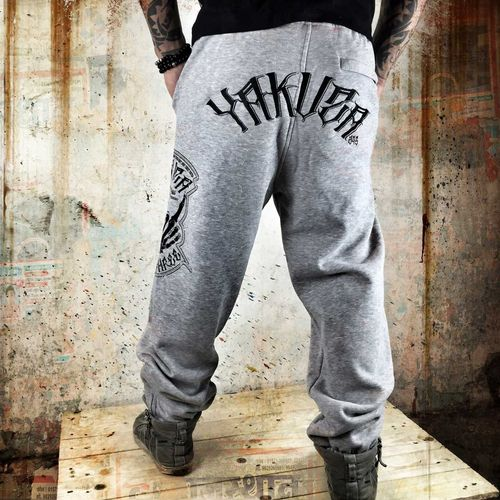 "YAKUZA - Herren Jogginghose JOB 7035 ""Fxckers"" light grey (hellgrau meliert)"