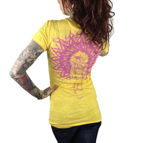 "YAKUZA - Damen T-Shirt (Girlie) GSB 7122 ""Skeleton Love"" banana cream (gelb)"
