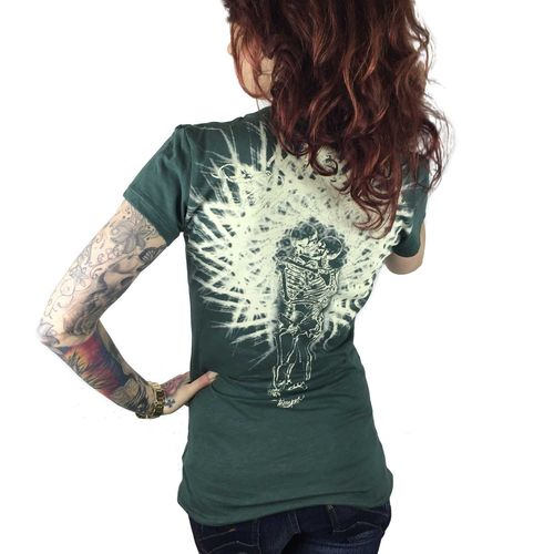 "YAKUZA - Damen T-Shirt (Girlie) GSB 7122 ""Skeleton Love"" jungle green (grün)"