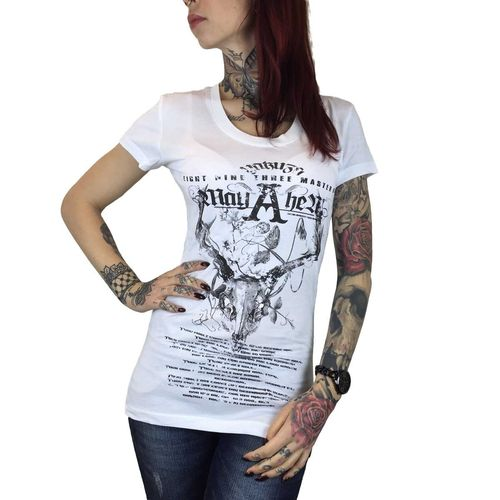 "YAKUZA - Damen T-Shirt (Girlie) GSB 7118 ""Mayhem"" white (weiß)"