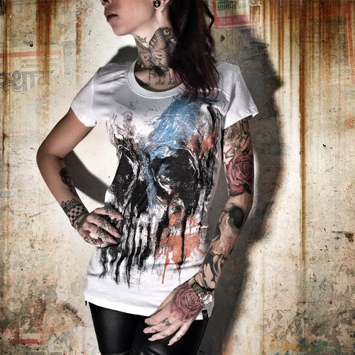 "YAKUZA - Damen T-Shirt (Girlie) GSB 7119 ""Threesome"" Skull white (weiß)"