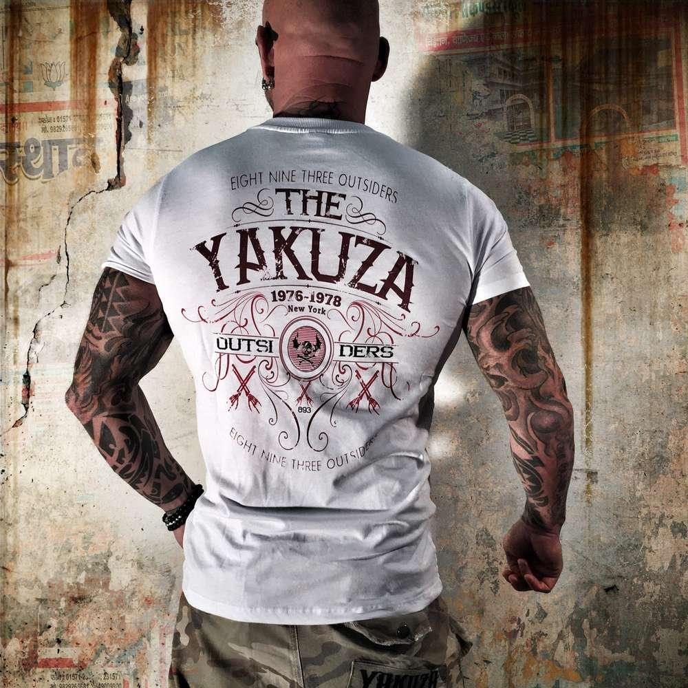 """weiß YAKUZA Herren T-Shirt TSB 7038 /""""Outsiders/"""" white"""