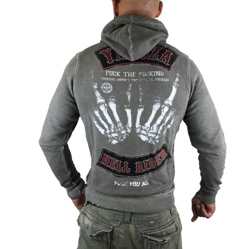 "YAKUZA - Herren Hoodie HOB 8045 ""Hell Rider"" dark gull gray (grau oil washed)"