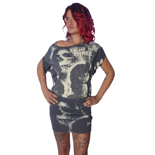 "YAKUZA - Kleid GKB 10124 ""Skull Dawn Dress"" dark shadow (grau)"