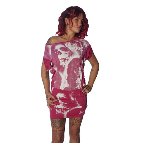 "YAKUZA - Kleid GKB 10124 ""Skull Dawn Dress"" sangria (pink / weiß)"