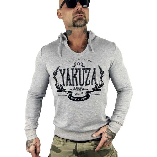 "YAKUZA - Herren Hoodie HOB 10058 ""Killed By Fame"" light grey melange (hellgrau meliert)"