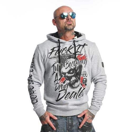 "YAKUZA - Herren Hoodie HOB 11053 ""Drug Dealer"" light grey melange (hellgrau)"