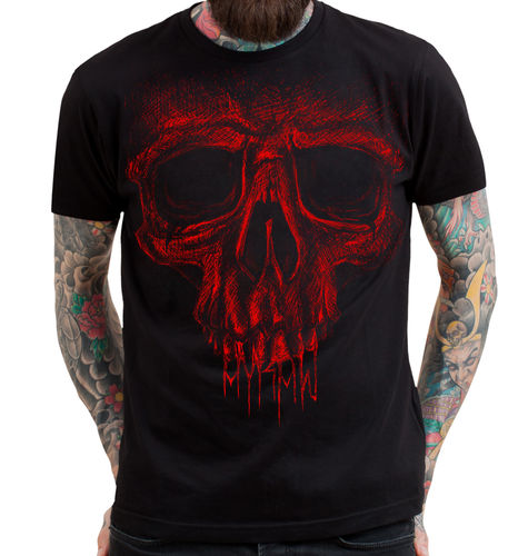 "HYRAW - Herren T-Shirt ""Red Skull"" black (schwarz)"