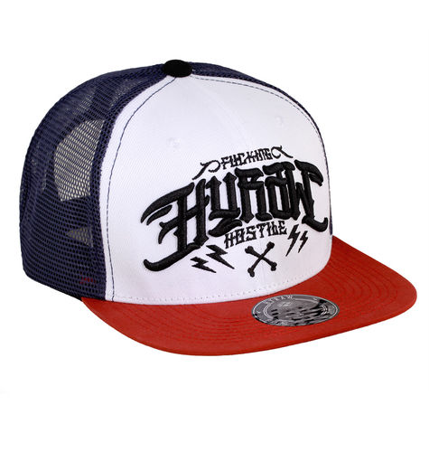 "HYRAW - Snap Back Trucker Cap ""Bastard"" blue/white/red (blau/weiß/rot)"
