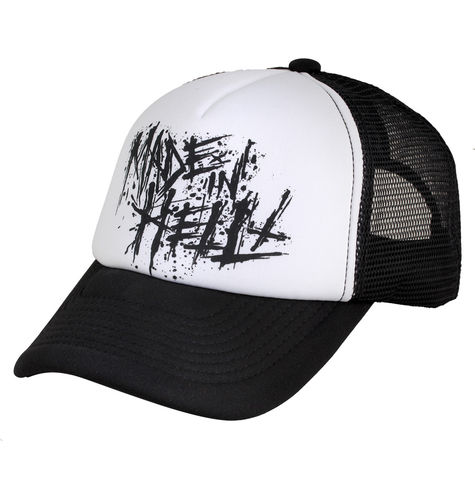 "HYRAW - Snap Back Trucker Cap ""Made In Hell"" black/white (schwarz/weiß)"
