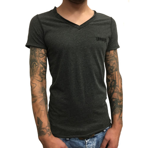 "YAKUZA - Herren Basic T-Shirt TSB 10082 ""Distressed"" dark grey melange (grau)"