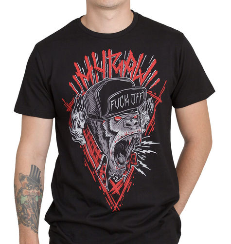 "HYRAW - Herren T-Shirt ""Hardcore Monkey"" black (schwarz)"
