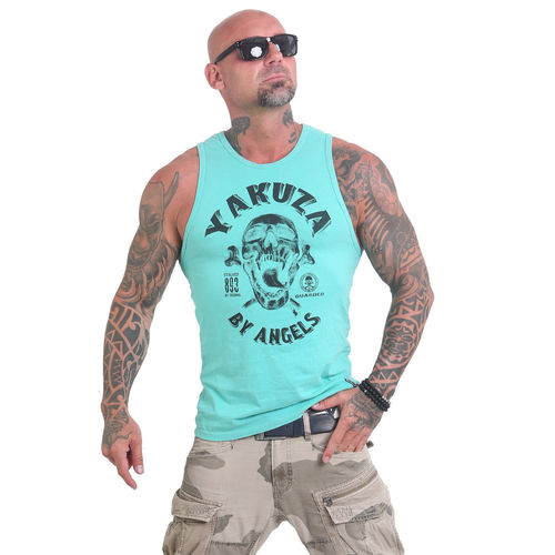"YAKUZA - Herren Tank Top UHB 12028 ""Screaming Skull"" turquoise (türkis)"
