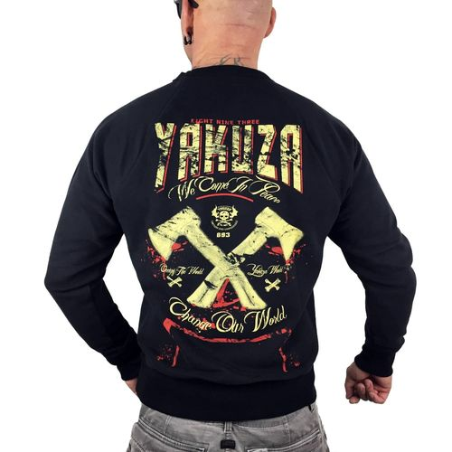 "YAKUZA - Herren Pullover PB 9062 ""We Come In Peace"" black (schwarz)"