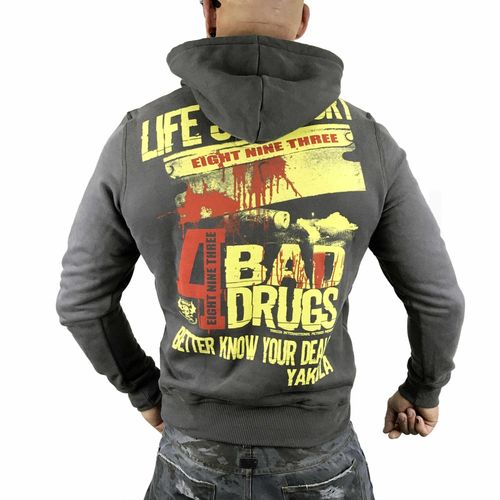 "YAKUZA - Herren Hoodie HOB 10022 ""Know Your Dealer"" dark shadow (dunkelgrau)"