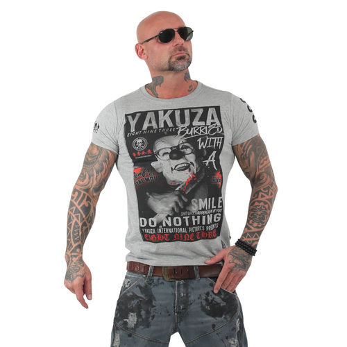 "YAKUZA - Herren T-Shirt TSB 13031 ""Burried"" light grey melange (grau)"