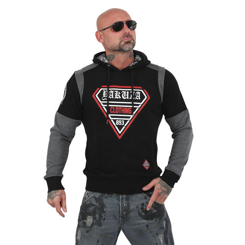 "YAKUZA - Herren Hoodie HOB 13002 ""Label Two Face"" black (schwarz)"