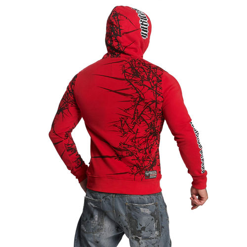 "YAKUZA - Herren Hoodie HOB 11004 ""Thorns"" ribbon red (rot)"