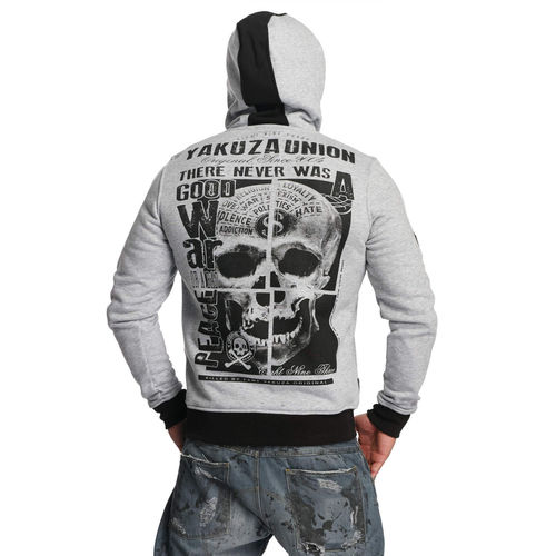 "YAKUZA - Herren Hoodie HOB 11008 ""893 Union"" light grey melange (grau)"