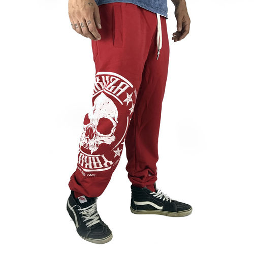 "YAKUZA - Herren Jogginghose JOB 10034 ""Skull Label"" ribbon red (rot)"