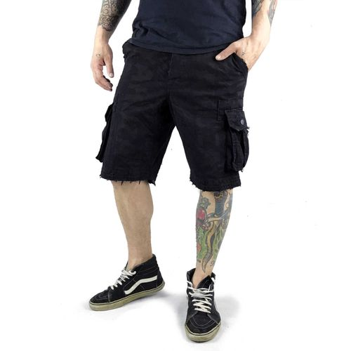 "YAKUZA - Cargo Shorts CSB 10036 ""Allover"" black (schwarz)"