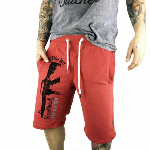 "YAKUZA - Sweat Shorts SSB 10038 ""Armed Society"" ribbon red (rot)"