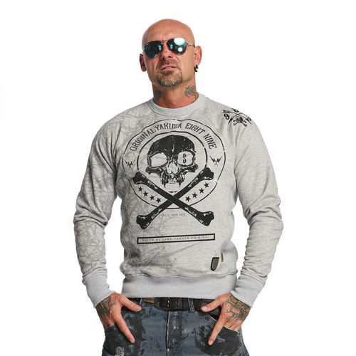 "YAKUZA - Herren Pullover PB 11016 ""Thorns"" light grey melange (grau)"