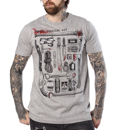"HYRAW - Herren T-Shirt ""Survival Kit"" grey (grau)"