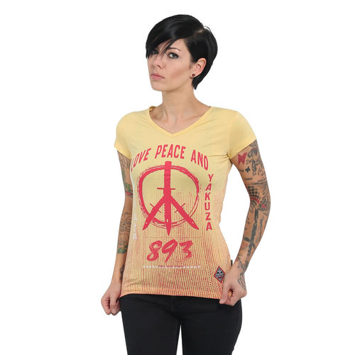 "YAKUZA - Damen T-Shirt (Girlie) GSB 13131 ""Love & Peace"" banana cream (gelb)"