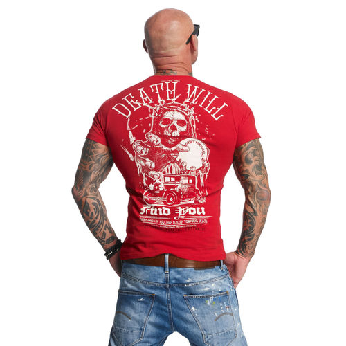 "YAKUZA - Herren T-Shirt TSB 11050 ""Death Will Find You"" ribbon red (rot)"