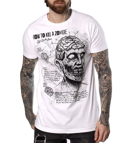 "HYRAW - Herren T-Shirt ""How To Kill A Zombie"" white (weiß)"