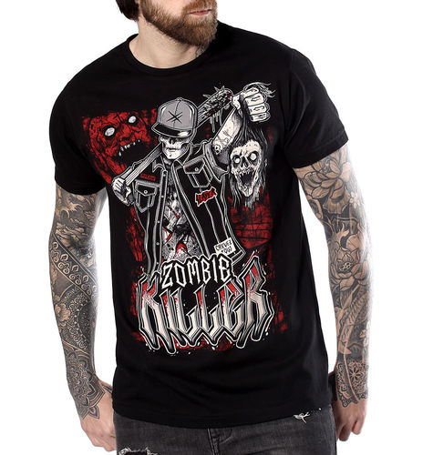 "HYRAW - Herren T-Shirt ""Zombie Killer"" black (schwarz)"