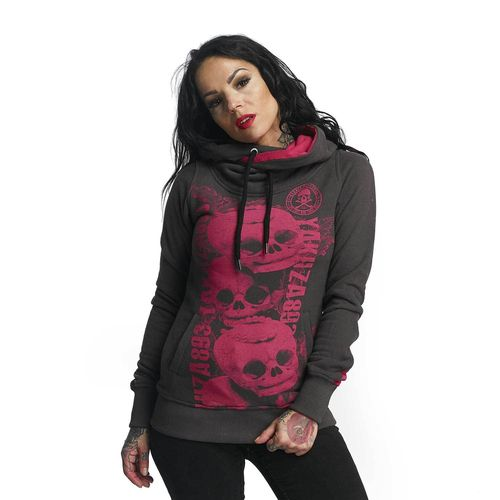 "YAKUZA - Damen Cross Neck Hoodie GHOB 11101 ""Skull"" dark shadow (dunkelgrau)"