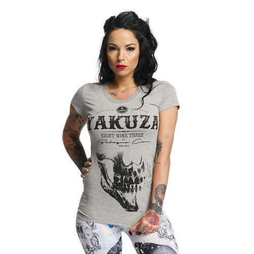 "YAKUZA - Damen T-Shirt (Girlie) GSB 11124 ""Daily Skull"" light grey (grau)"