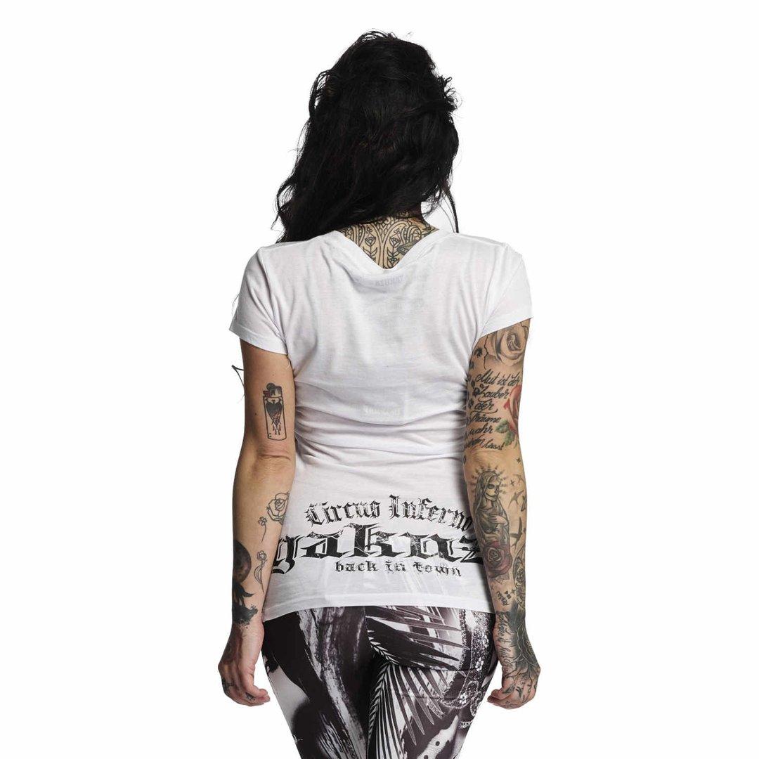 """YAKUZA weiß Damen T-Shirt GSB 10111 /""""Circus Inferno/"""" white"""
