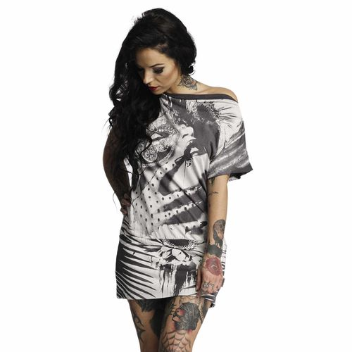"YAKUZA - Kleid GKB 10125 ""Root Girl"" dark shadow (grau / weiß)"