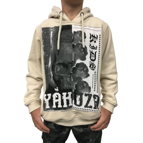 "YAKUZA - Kinder Hoodie HOB 10406 Kids ""Skull And Roses"" snow white (beige)"