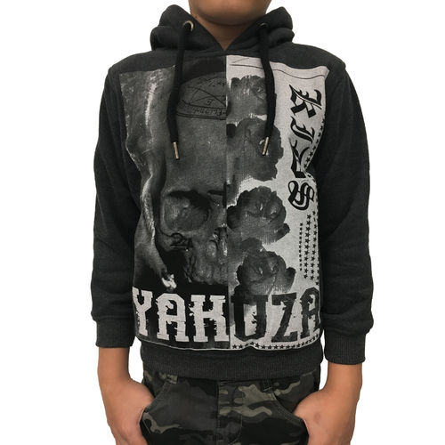 "YAKUZA - Kinder Hoodie HOB 10406 Kids ""Skull And Roses"" dark grey (schwarzgrau)"