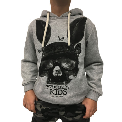 "YAKUZA - Kinder Hoodie HOB 10407 Kids ""Dead Bunny"" light grey melange (grau)"