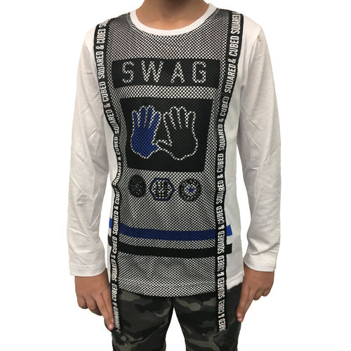 "SQUARED & CUBED - Kinder Longsleeve Shirt M-90 ""Swag"" weiß"