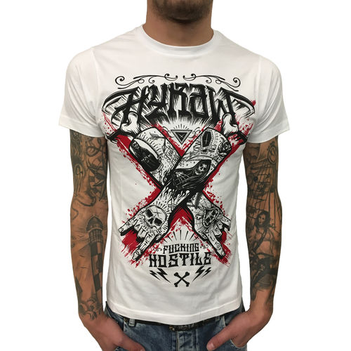 "HYRAW - Herren T-Shirt ""Hostile"" white (weiß)"