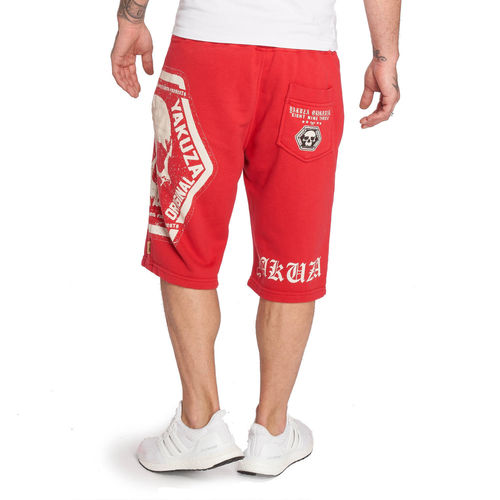 "YAKUZA - Sweat Shorts SSB 12046 ""Skull Label"" ribbon red (rot)"