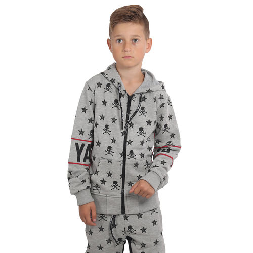 "YAKUZA - Kinder Zipperjacke HZB 15403 Kids ""Skull N Stars"" light grey (grau)"