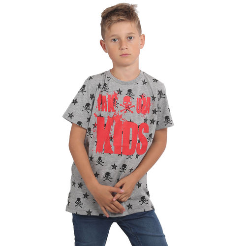 "YAKUZA - Kinder T-Shirt TSB 15408 Kids ""Skull N Stars"" light grey melange (grau)"