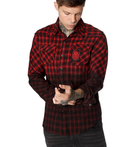 "HYRAW - Herren Hemd ""Badge"" black/red (schwarz/rot)"