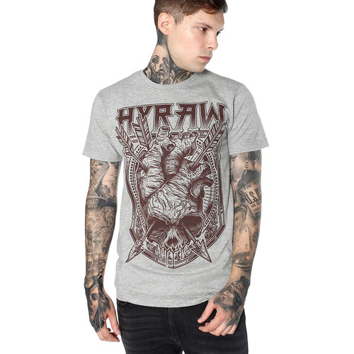 "HYRAW - Herren T-Shirt ""Heart & Arrows"" grey (grau)"
