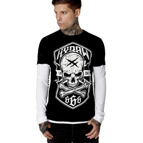 "HYRAW - Herren Longsleeve ""Badge"" black/white (schwarz/weiß)"