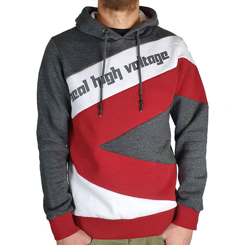 "RUSTY NEAL - Herren Hoodie R-4727 ""High Voltage"" grey/white/red (grau/weiß/rot)"