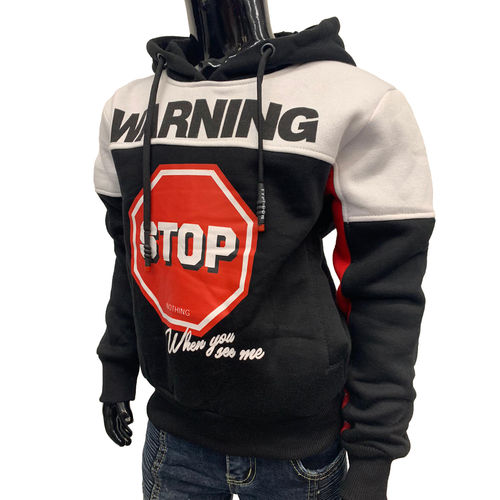 "SQUARED & CUBED - Kinder Hoodie P-40 ""Warning Stop"" black/red (schwarz/rot)"